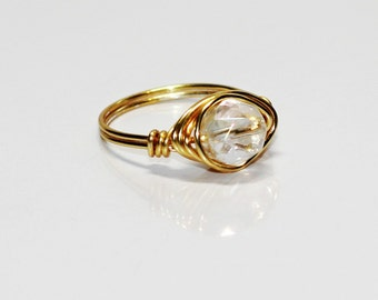 Gold Plated Wire Wrapped Coated Clear Quartz  Solitaire Ring
