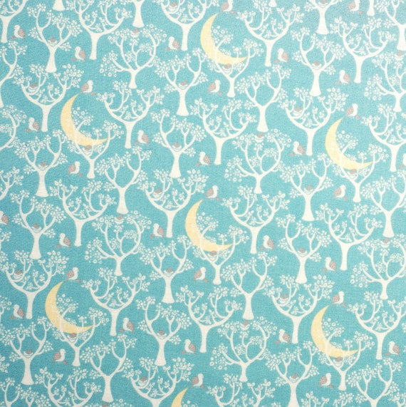 Magical forest moon print fabric half meter 100 cotton for Moon print fabric