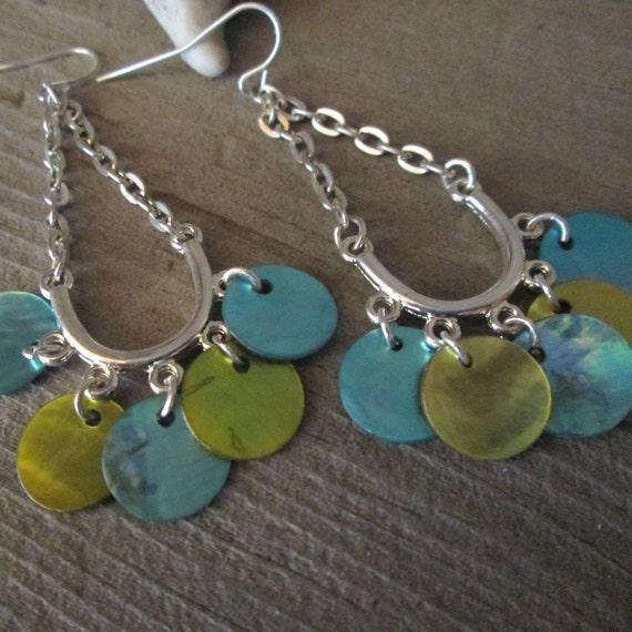 Blue and Green Shell Earrings, Shell Earrings