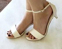 Ladies Ivory low heel wedding shoes. Low heel bridal shoes, comfortable bridal shoe, beach Style: 'True Romance Ivory' SALE!