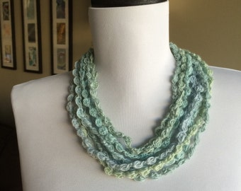 SEAFOAM,  Crocheted Necklace, Bracelet, 18