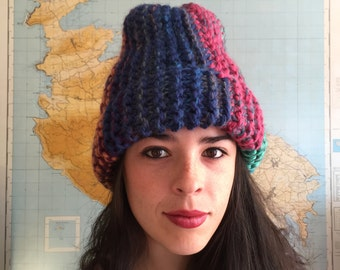 HANDMADE Knitted Slouchy Hat , Color Block Blue, red , Green  / H - 01