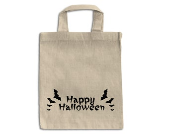 Halloween cotton tote bag- Happy Halloween Tote bag - Trick or Treat Halloween Candy Bag
