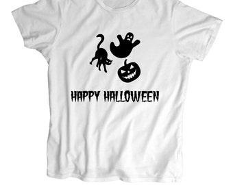 Happy Halloween T shirt -  Halloween ghost T shirt - Toddler Shirt - Screen Printed Kids T Shirt -100% Cotton-