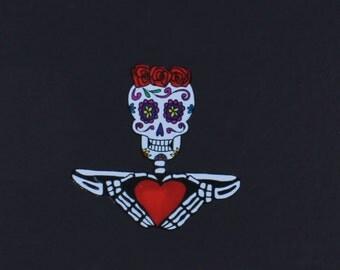 Day of the Dead Sugar Skull with Heart vinyl sticker # 108