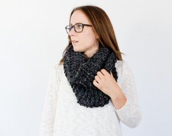 chunky knit wool cowl scarf || The BINXY || shown in charcoal