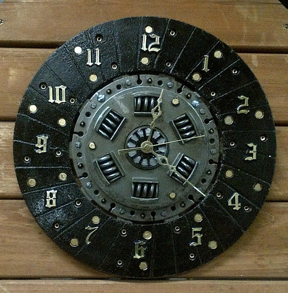 Automotive Clutch Plate : Repurposed automotive clutch plate wall clock handmade