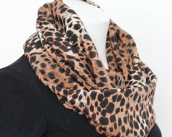 Animal Print Scarf - Valentine Gift - Infinity Scarf - Cheeta Print Scarf - Fashion Scarf - Lightweight Scarf - Gift For Her - Gift For Wife