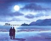 Framed original Watercolour of Stroll in The Moonlight Mumbles