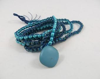 2 Strand  3 Wrap Turquoise Bracelet