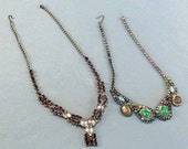 2 Rhinestone Necklaces // Vintage // Jewelry Repairs // Replacements Parts // ALL Stones Present // Wearable