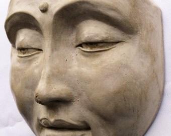 Zen Garden Buddha Face Sculpture, Cast Stone Outdoor Decor