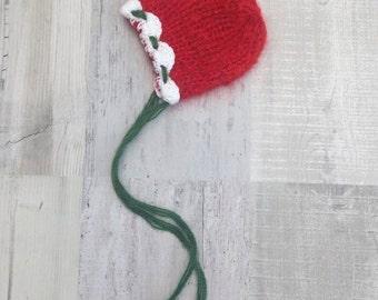 Christmas knit hat READY TO SHIP Mohair bonnet Newborn bonnet knit baby hat Classic bonnet Photo prop Stripped bonnet  Christmas hat