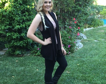 Women's Vest, Black Vest, Woman Black Vest, Vests, Vest Black, Cardigan, Womens Clothing, Solid Black, S/M  L/XL or Plus
