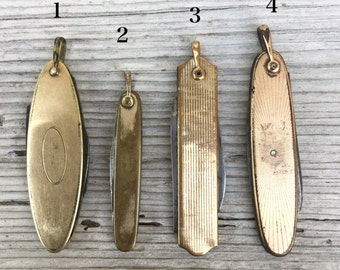 Knife fob *BULK DISCOUNT* antique knife Pendant Deco pocket knife pendant. Gold fill. charm. victorian. antique parts. pocket watch  e26