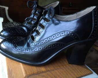 Lace- Up Heels Oxfords Black Leather Size 6 M Made In Brazil