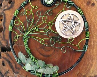 Tree of Life - Windswept Swirl Green Aventurine Tree with Pentacle Moon