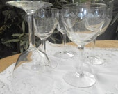 5 Large Victorian Crystal Cut Wine Glass Hand Etched Design French Antique Stem Glasses