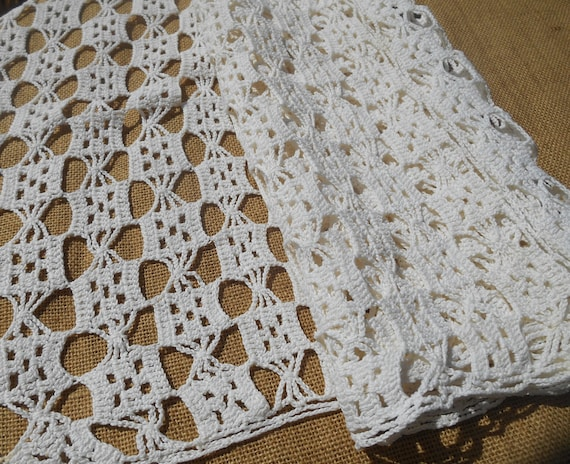 Long White Filet Panel French Crochet Curtain Cotton Made Geometric Design Canopies Dresser Windows Sewing Project #SophieLadyDeParis