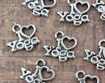 10 I Love Yoga Charms  Antiqued Silver Tone 14 x 13 mm