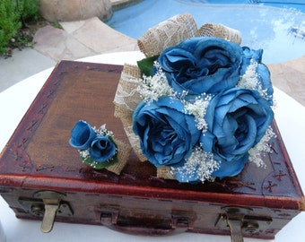 Bridal bouquet designed with teal cabbage roses