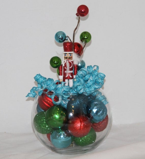 Red Turquoise Not Just For Holiday Decor: Nutcracker Christmas Centerpiece Turquoise By