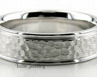 18K White Gold Wedding Band Ring  5MM Wide  Sizes 4-12  Free Engraving  New