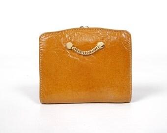 Vintage Bond Street Wallet - Brown Gold Leather - Gold Tone Metal - Unused