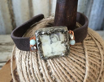 Leather Bracelet with Soldered glass box with vintage photo of 2 girls and wire wrapped BL-001