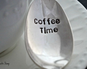 Coffee Time. Stamped Spoon. Vintage Spoon. Coffee Spoon. Gift for Coffee Lover. Stamped Flatware by The Rustic Stamp