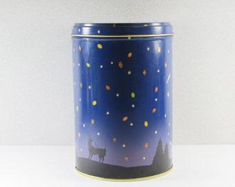 1989 Peanut M&M's Chirstmas Tin Cobalt Blue Starry Night