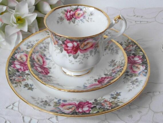 summer rose kaffee tasse trio englisch queen anne porzellan. Black Bedroom Furniture Sets. Home Design Ideas