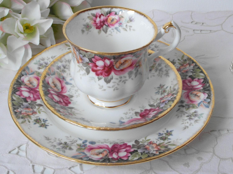 summer rose tasse kaffee trio englisch queen anne porzellan. Black Bedroom Furniture Sets. Home Design Ideas
