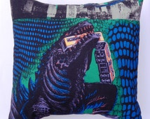 Godzilla Vintage Fabric Cushion - handmade by Alien Couture
