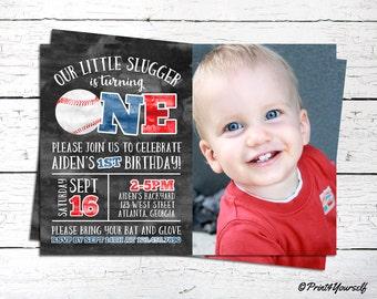 1st Birthday Baseball Invitation // Personalized Printable Little Slugger Baseball First Birthday Photo Invitation // Little Slugger Invite