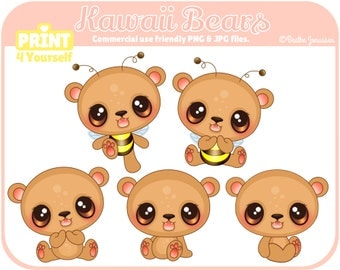 Instant Download Kawaii Bears Clipart // Teddybear Clipart // Bear Clipart // Bumble Bee Clipart // Honey Bear Clipart