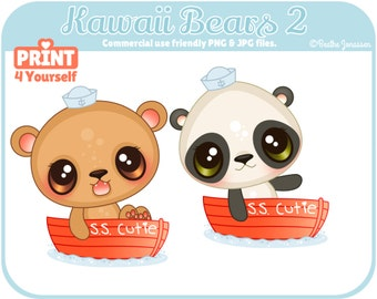 Instant Download Kawaii Bears 2 Clipart // Panda Clipart // Bear Clipart // Boat Clipart // Nautical Clipart // Sailor Clipart // Sailor