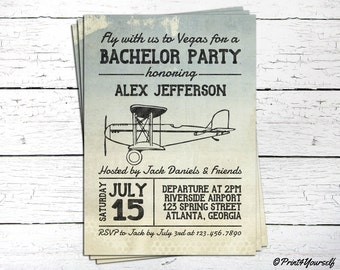 Bachelor Invite // Personalized Printable Airplane Bachelor Invitation // Plane invite // Airplane Invite // Flight Invitation