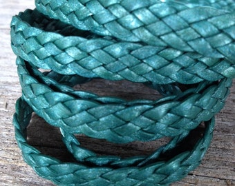 Metallic teal flat braided leather cord, flat braided leather, truly teal metallic leather, 1 foot