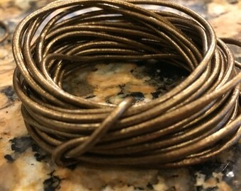 1.5mm deep bronze metallic leather cord, 1.5 bronze leather