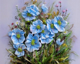 "picture "" Blu dream"",  Silk ribbon embroidery, roses, ribbonwork"