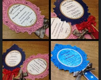 001. Princess Mirror design Invitation template (select color / DIY / Printable by You / Personalized) details in description.