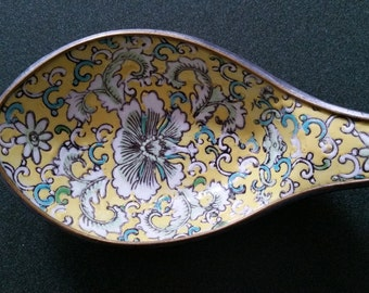 Japanese Porcelainware - Vintage Spoon Rest - Made for Stewart Dry Goods, Co.Kentucky - Handpainted Yellow Enamel Pattern