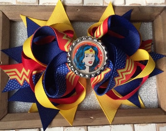Yellow, red and blue Stack Hair bow