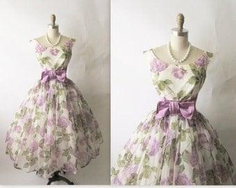 50s Mauve Floral Chiffon/ Wedding Dress