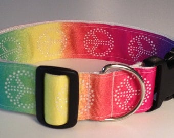 "Dog Pet Collar Groovy Peace Sign w/Sparkles 1 1/2"" wide, 2 sizes"