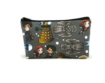 Doctor Who Zipper Pouch, Makeup Bag, Tampon Case, Dr Who Toiletry Bag, Cosmetic Bag, Tardis Makeup Bag,  Zipper Pouch, Makeup Organizer