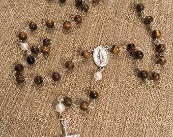 Handmade Rosary with Sterling silver cross, fresh water pearls and tiger eye glass beads (brown)
