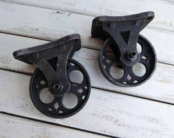 Set of 2 Vintage Inspired Metal Iron CASTER WHEELS  ~ Industrial Furniture Restoration Hardware Man Cave Farmhouse Home Decor