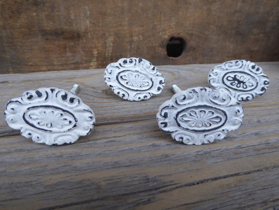 Shabby Chic Metal Distressed White Oval Floral Swirl Knob
